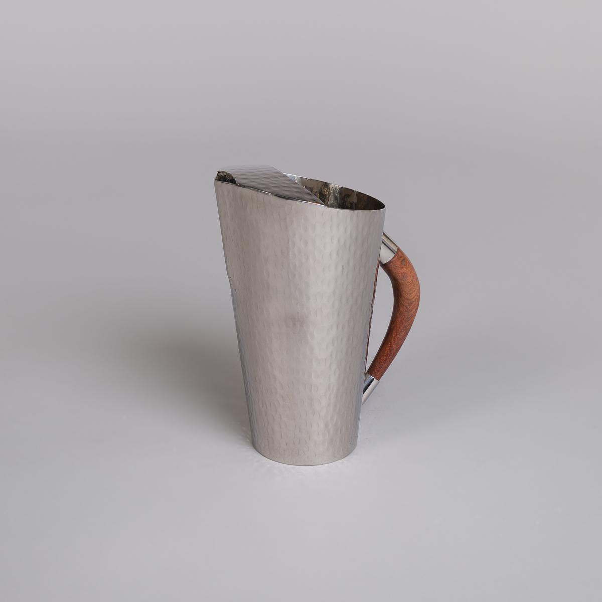 Mugge i rustfritt stål med håndtak i teak-0