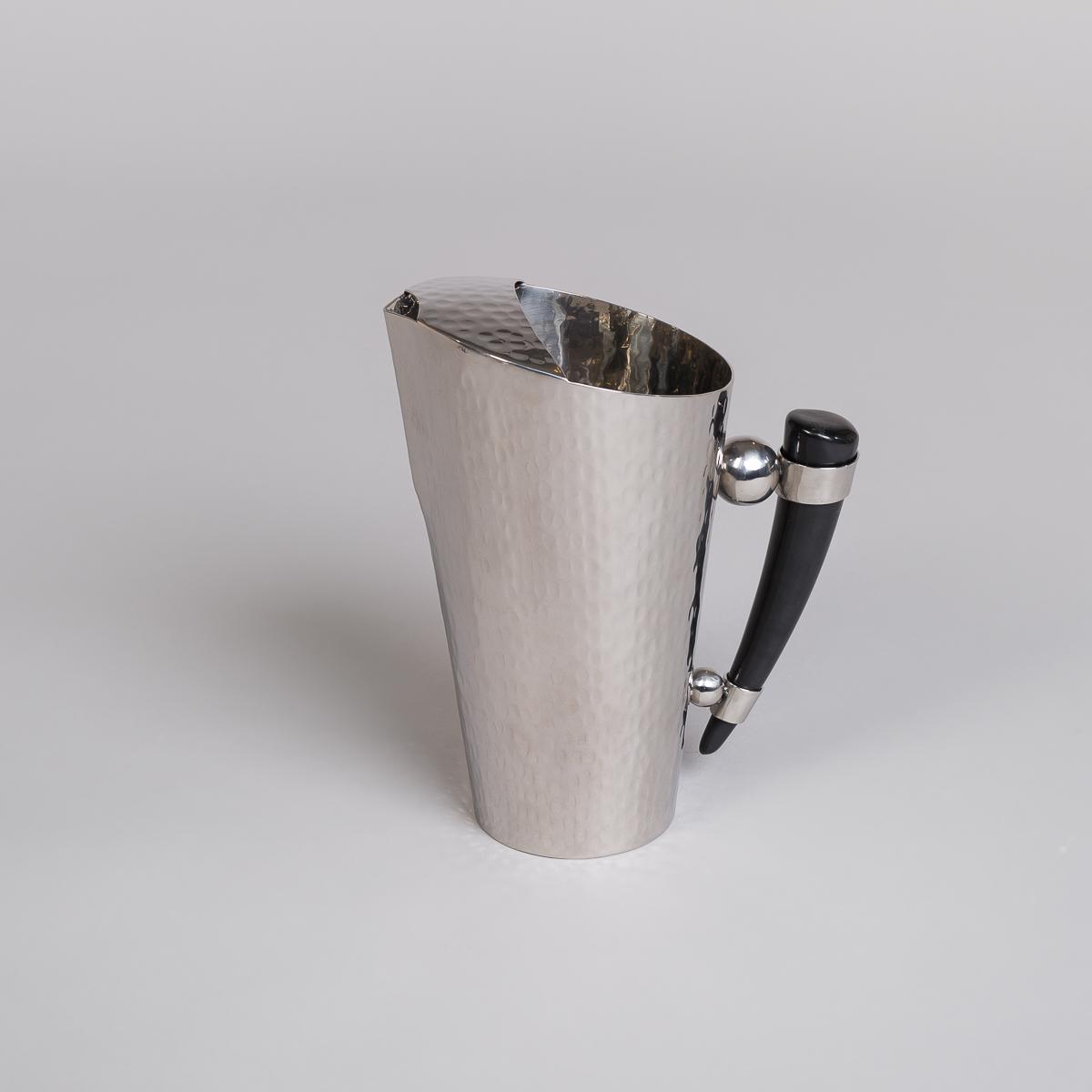 Mugge i rustfritt stål med håndtak i bøffelhorn-0