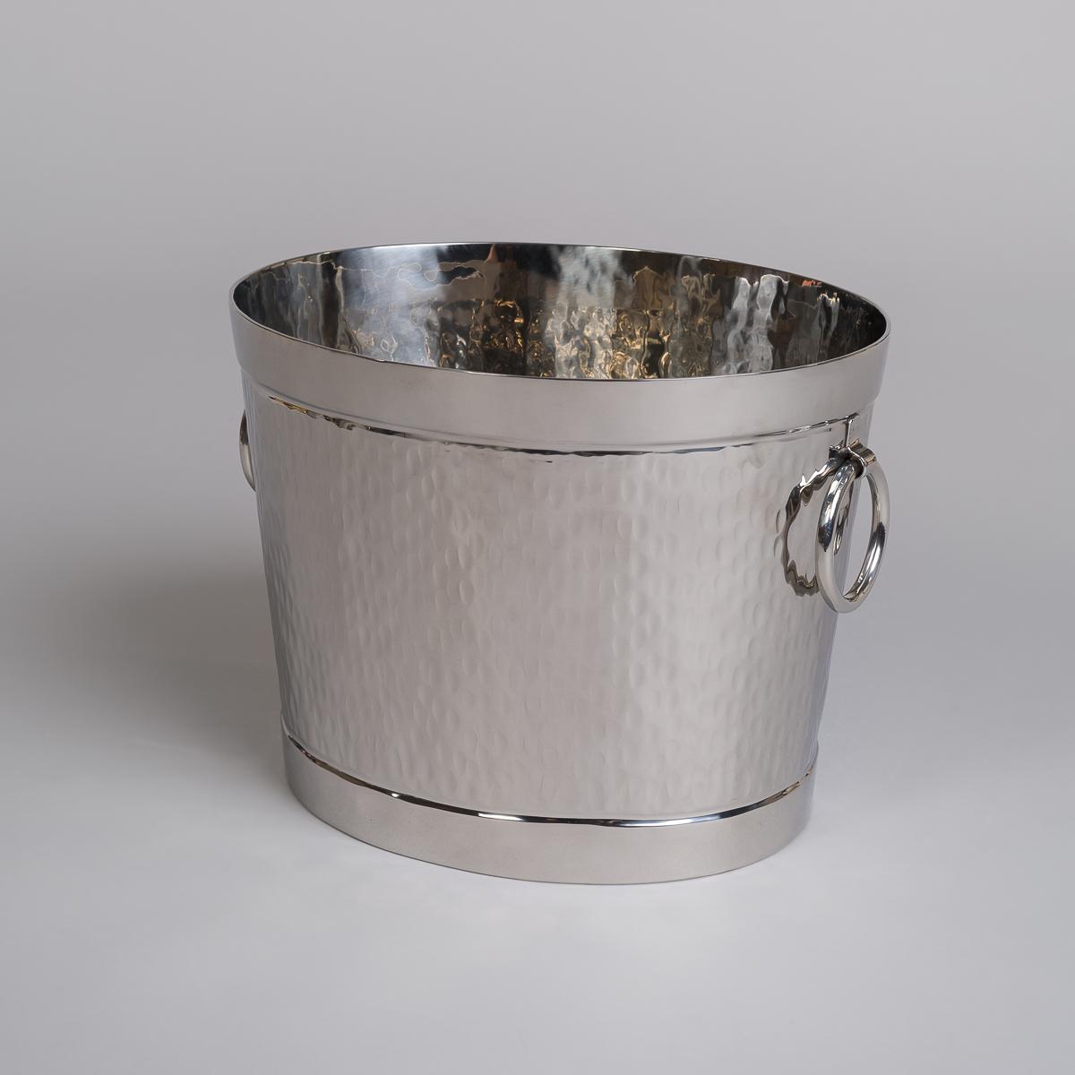 Champagnekjøler i rustfritt stål med ringer som håndtak-0