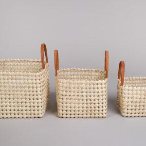 Sett 3 kurver i bambus med skinn på håndtak-Lys-0