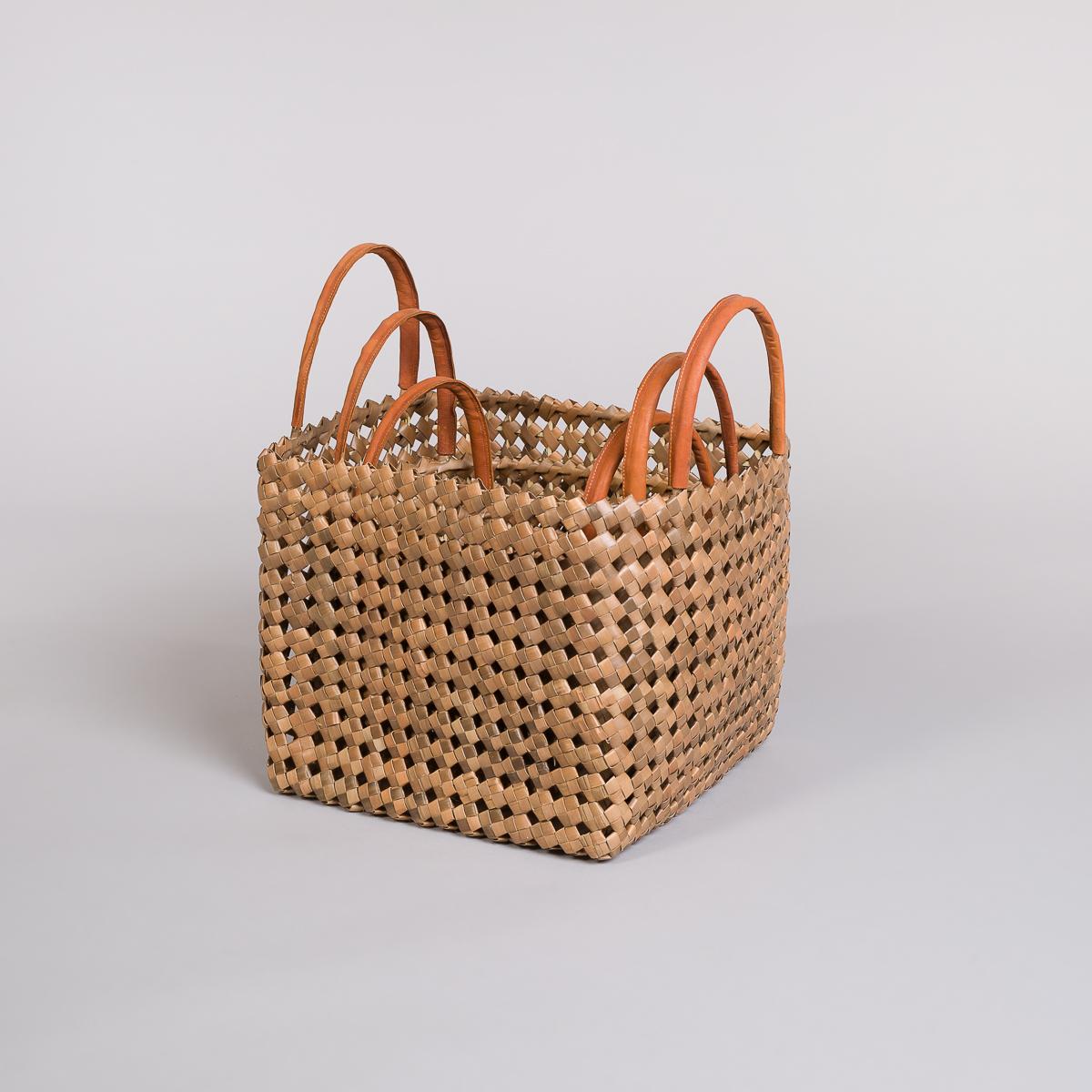 Sett 3 kurver i bambus med skinn på håndtak-Brun-129