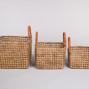Sett 3 kurver i bambus med skinn på håndtak-Brun-0