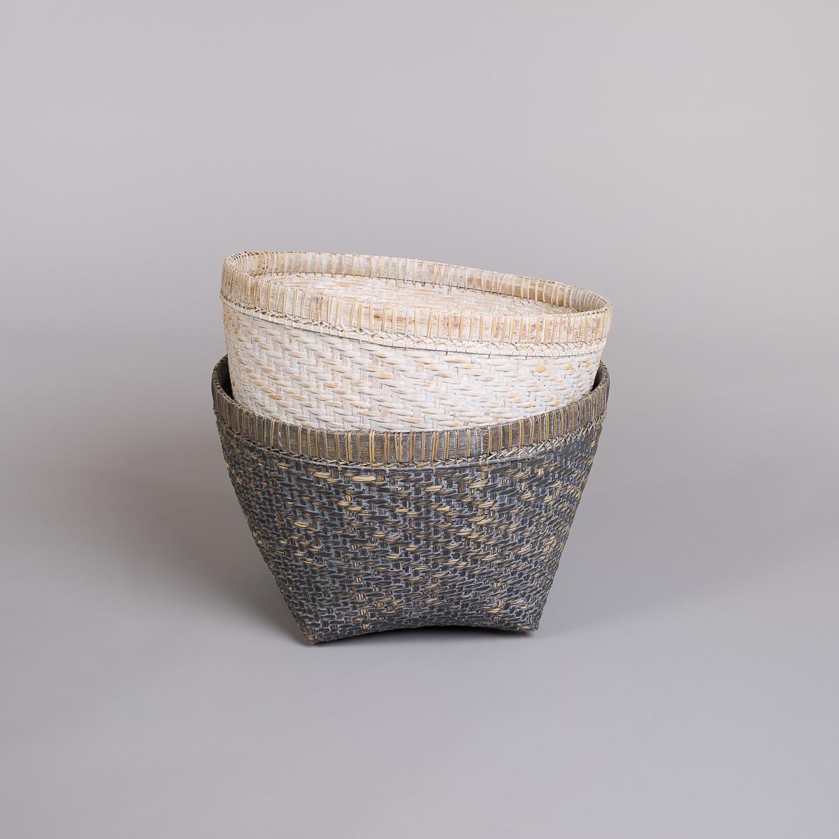 Kurv i bambus-Hvit-142
