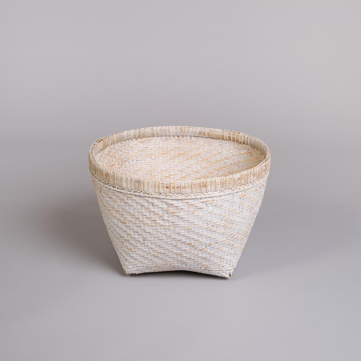 Kurv i bambus-Hvit-0