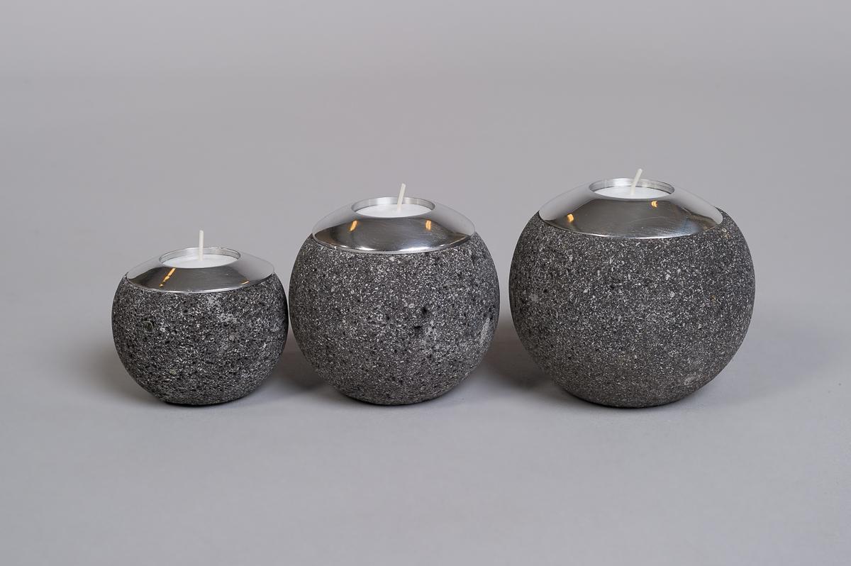 Te-lysholder sett av 3 laget i svart lava-0