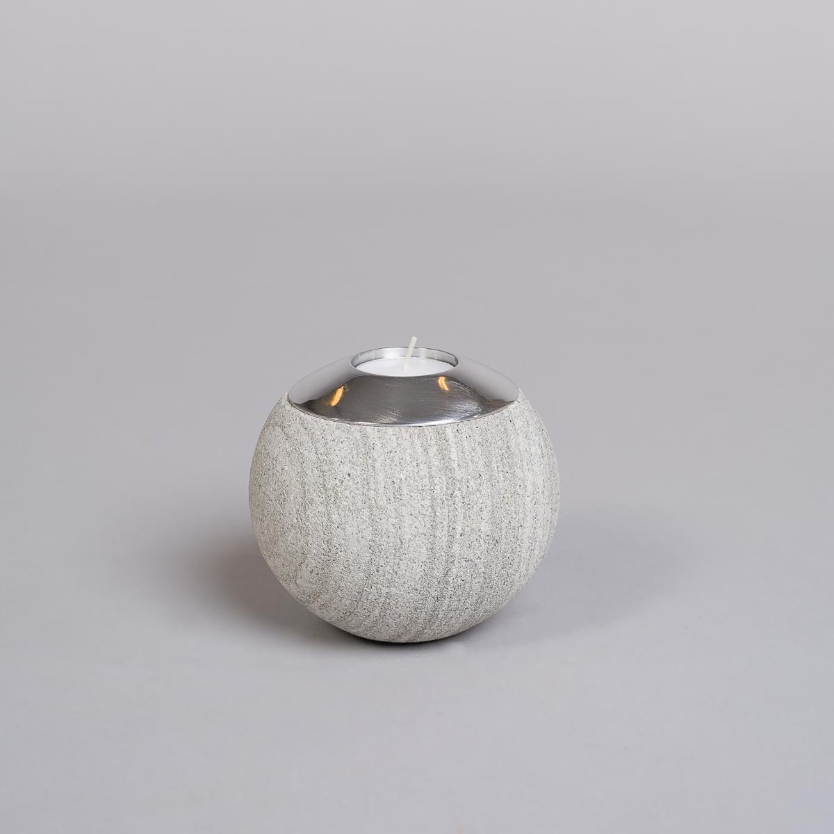 Te-lysholder i grå sandstein-stor-0