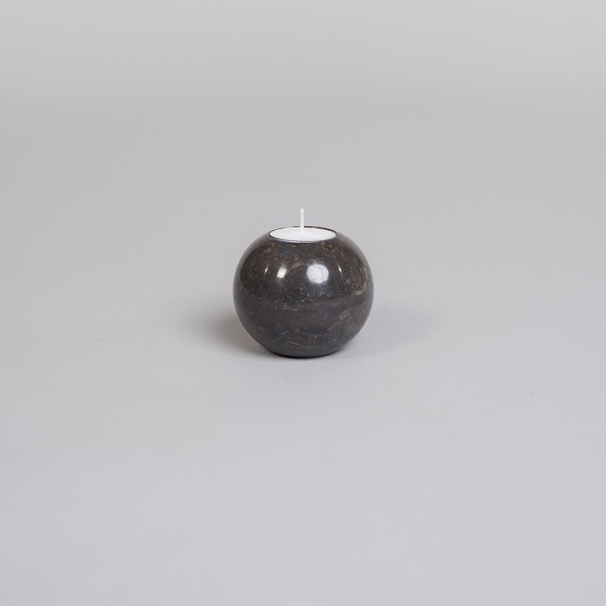 Te-lysholder i svart marmor - liten-0