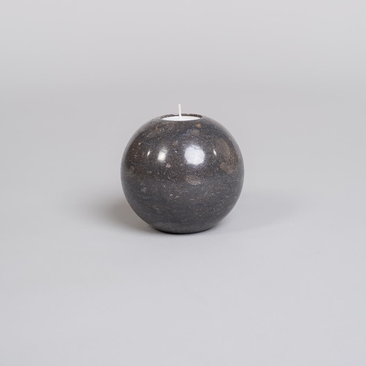 Te-lysholder i svart marmor-stor-0