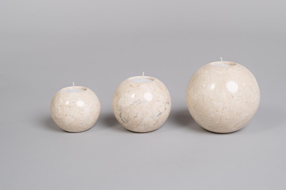 Te-lysholdere sett på 3 i lys marmor -0