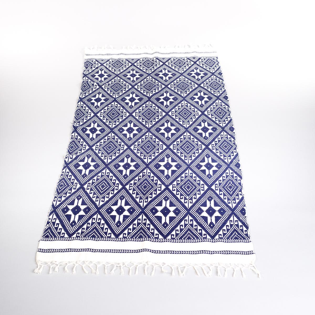 Håndvevd løper i blått og hvit mønster-0