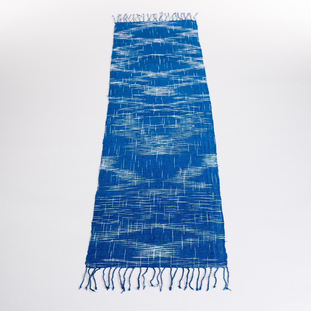 Håndvevd løper - Blå sjatteringer-0