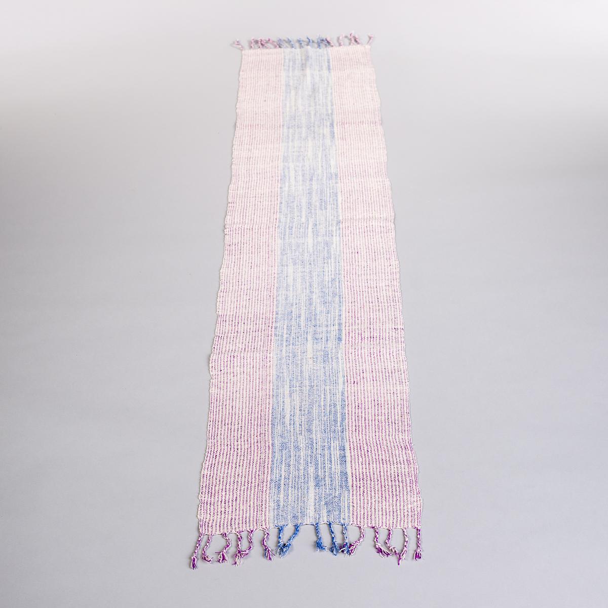 Håndvevd løper - Rosa og blå stripe-0