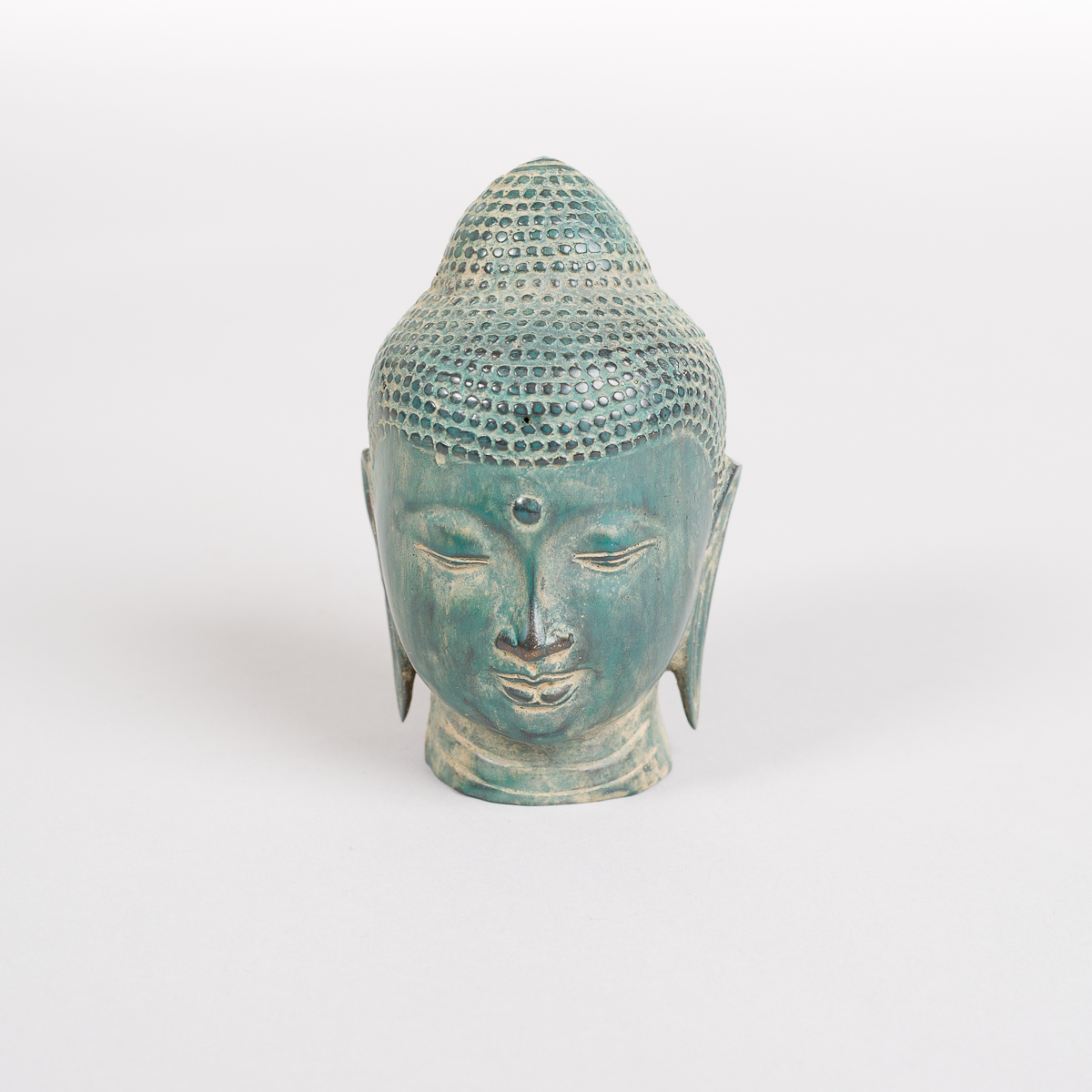 Grønnfarget Buddha hode i Bronse-0