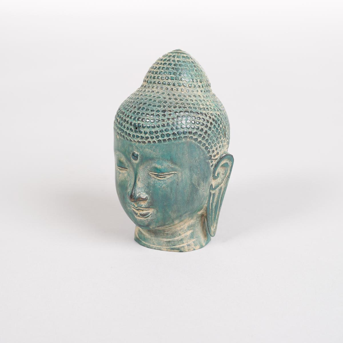 Grønnfarget Buddha hode i Bronse-566