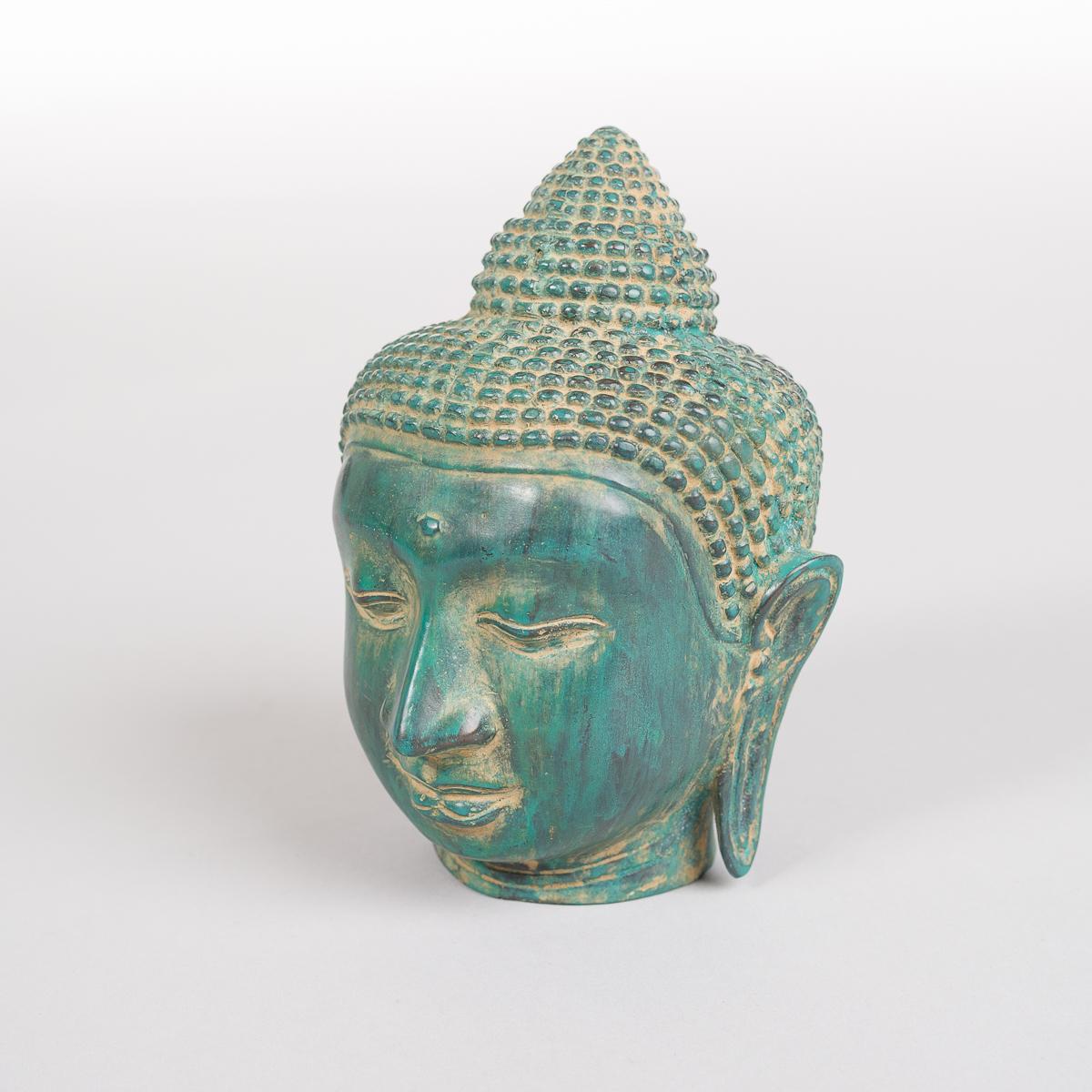 Grønnfarget Buddha hode i Bronse -570