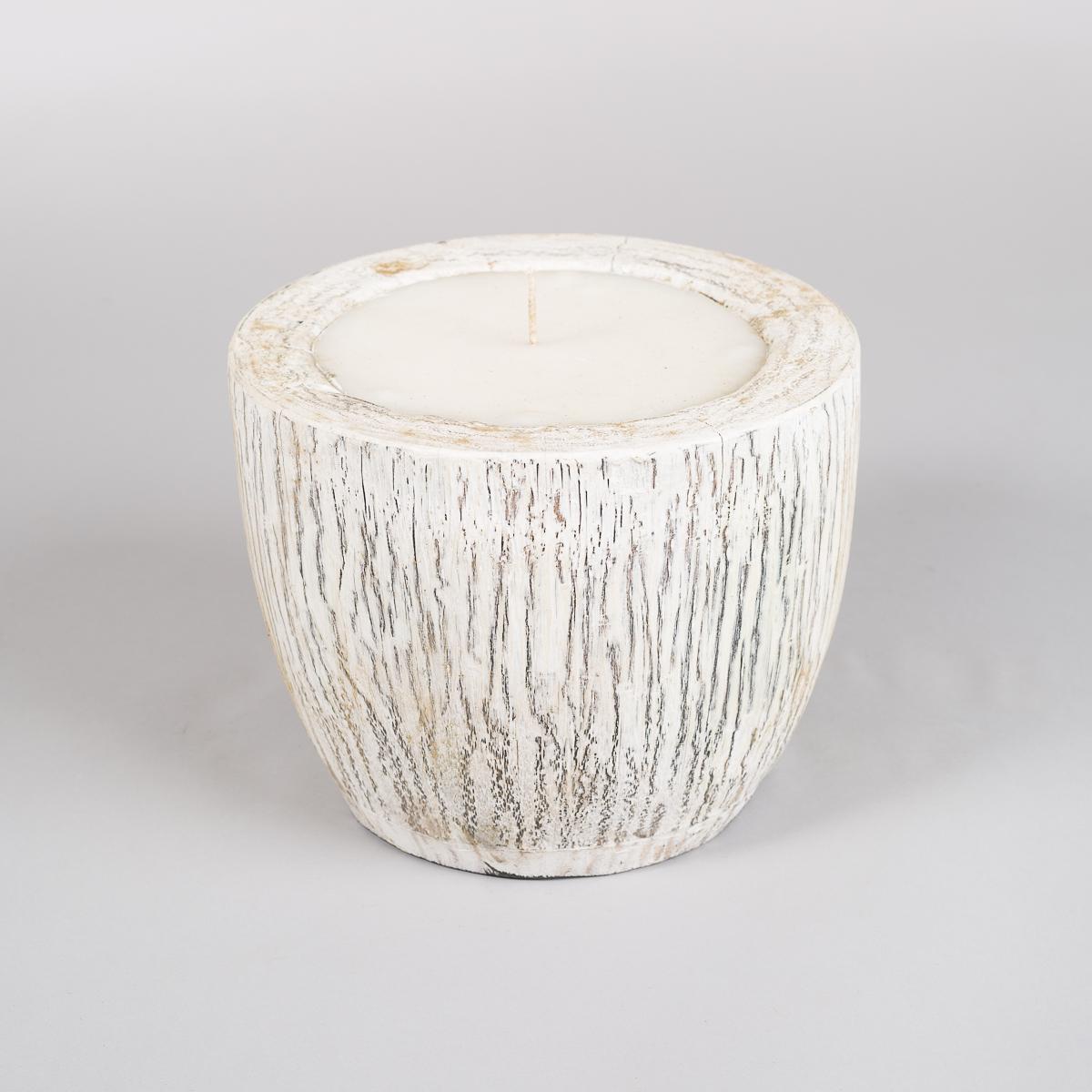 Uthult Palme krukke med Stearin lys, høyde 21 cm-0