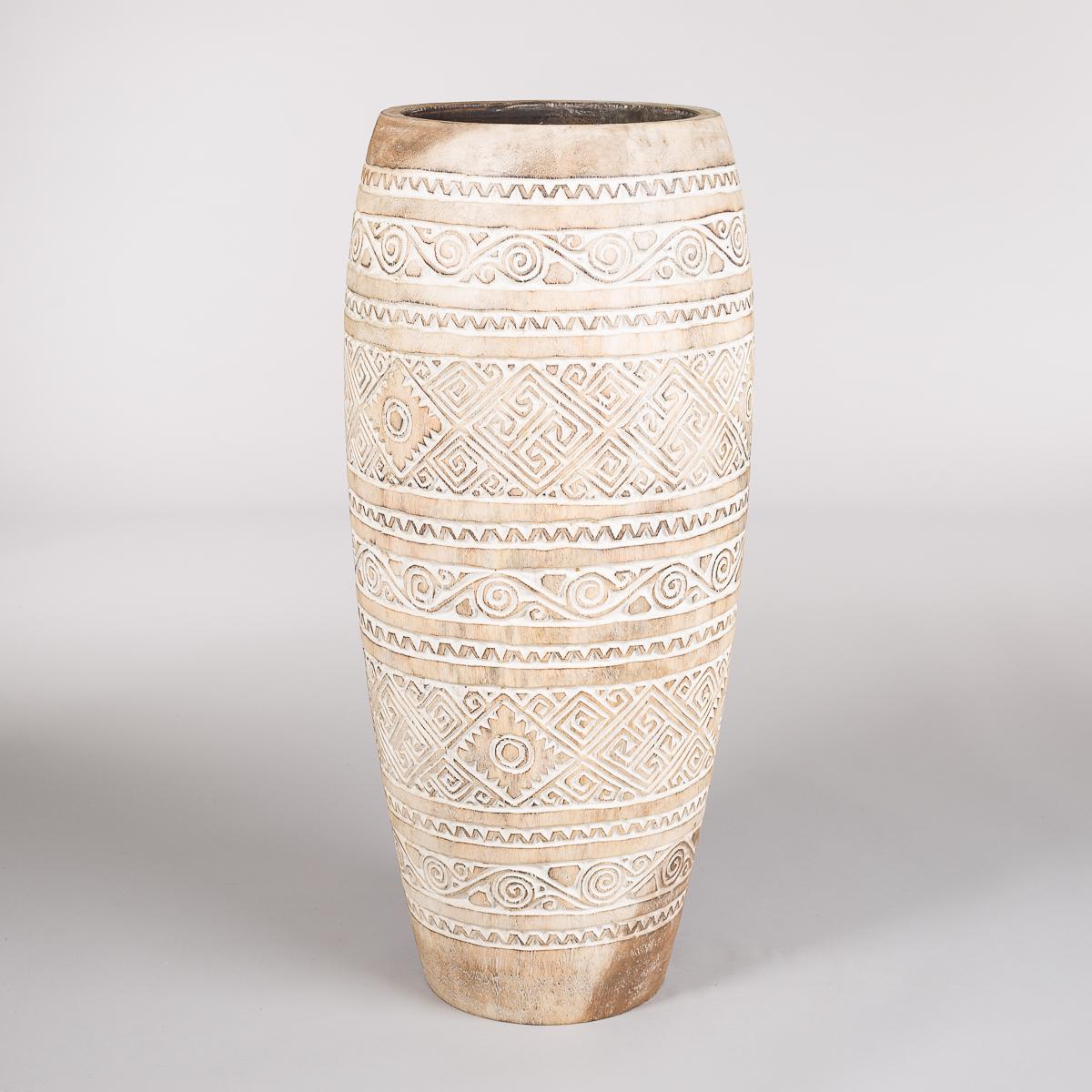 Uthulet potte i tamarind tre, Høyde 80 cm, farge Brun / hvit-0