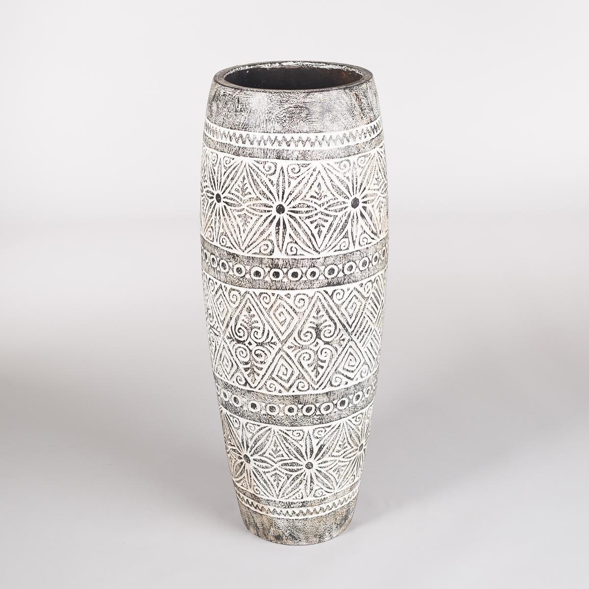 Uthulet potte i tamarind tre, Høyde 80 cm, farge Sort / hvit-0