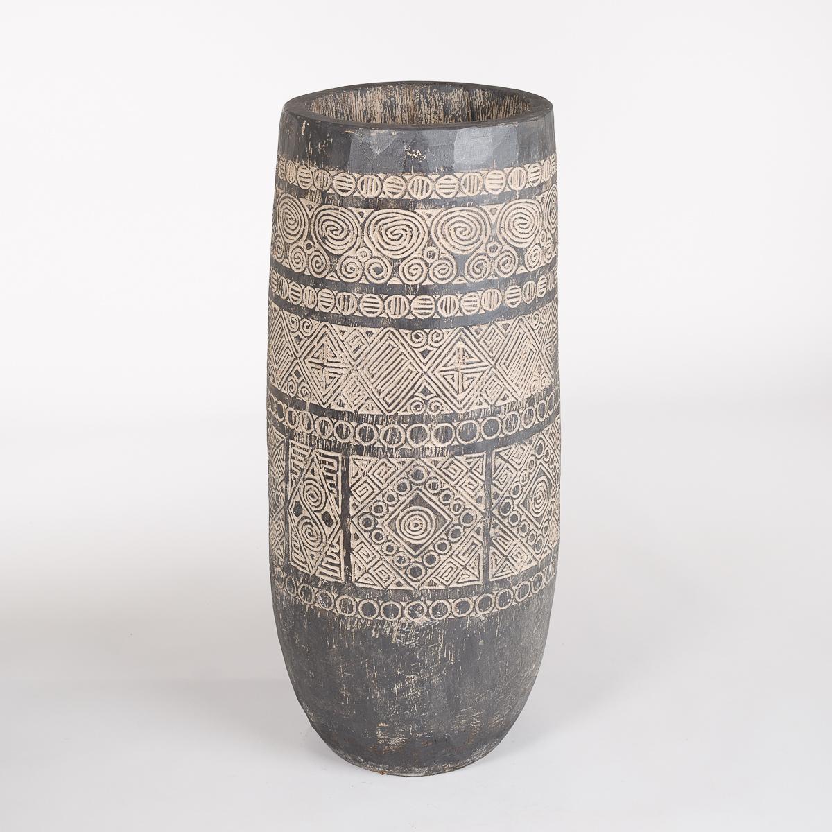 Palme potte, høyde 1 meter, farge Sort / bege-0