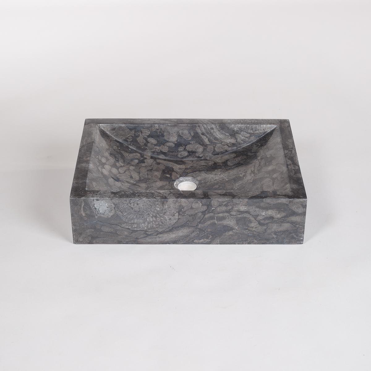 Rektangulær vask gråsort Marmor -0